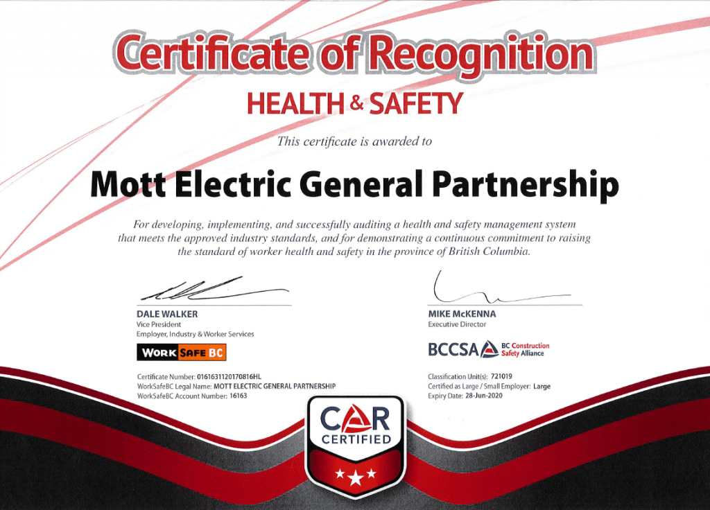 Certification of Recognition - Health
